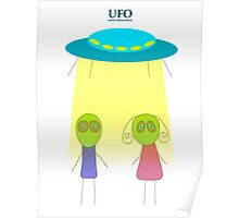 UFO vector illustration wiht flying saucer on the white background Poster
