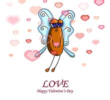 Valentine card with a fly male on the white background by Ann-Julia