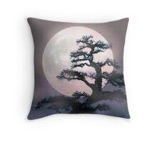 Moonlight on Bonsai Elm Throw Pillow