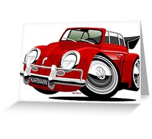 VW Beetle Convertible Cabriolet red Greeting Card