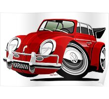 VW Beetle Convertible Cabriolet red Poster