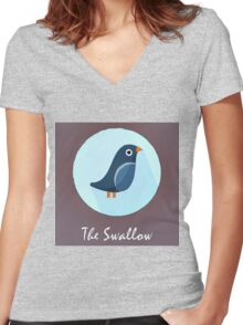 The Swallow Cute Portrait Women's Fitted V-Neck T-Shirt