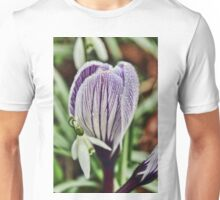 crocus snowdrop and water droplets Unisex T-Shirt