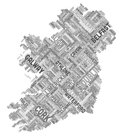 Ireland Eire City Text map Sticker