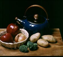 Still Life with Blue Teapot by Cara Feuerstein