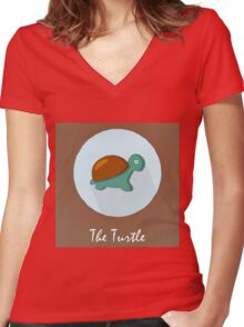 The Turtle Cute Portrait Women's Fitted V-Neck T-Shirt