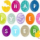 happy easter colorful eggs with little chicken by demonique