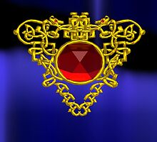 GOLD CELTIC HEART WITH RED RUBY GEMS by BulganLumini