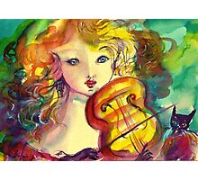 VIOLINIST GIRL ,VIOLIN  AND CAT  Photographic Print