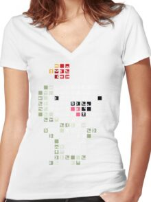 Fez Happy Gomez Tiles Women's Fitted V-Neck T-Shirt