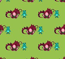 seamless pattern with dragon and the bear by Ann-Julia