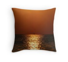 Sail Boat in Sunset Throw Pillow
