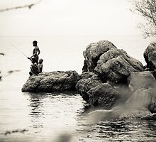 Boys Fishing, Malawi by Tim Cowley