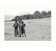 Nkhotakota girls, Lake Malawi Art Print