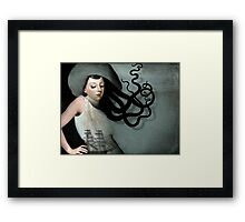 Girl with a sailing ship Framed Print