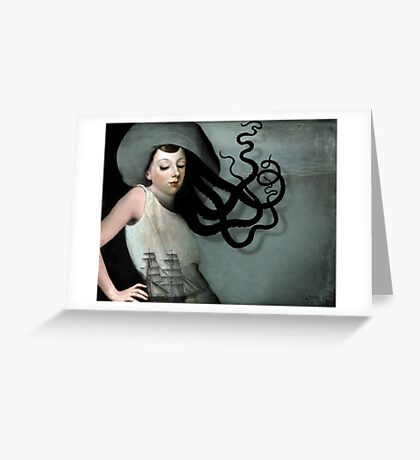 Girl with a sailing ship Greeting Card