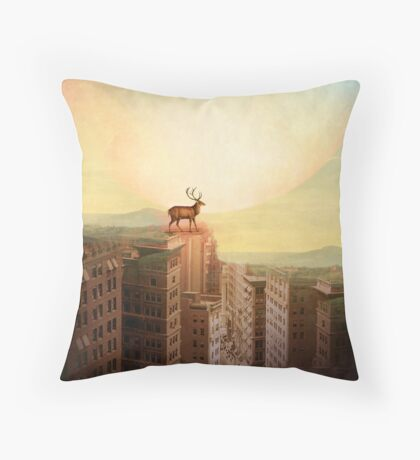 Deer at Dawn Throw Pillow