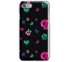seamless pattern in the style of emo skull. Drawn by hand, cute doodle drawing iPhone Case/Skin