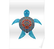 The Blue Tribal Sea Turtle Poster