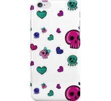 seamless pattern in Emo style with skulls and hearts iPhone Case/Skin