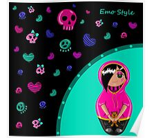 Card in emo style. Painted hands with a cute girl emo and colorful skulls and hearts. Poster