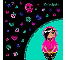 Card in emo style. Painted hands with a cute girl emo and colorful skulls and hearts. Photographic Print