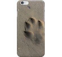 dog pawprint in sand iPhone Case/Skin