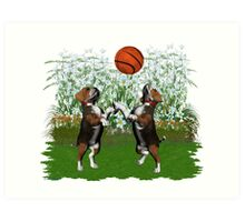 August Puppy .. playing with a ball Art Print