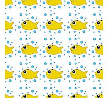 Seamless pattern with fish and crabs in the style of doodle drawing. Photographic Print
