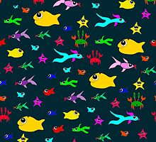 Seamless pattern with fish and crabs in the style of doodle drawing. by Ann-Julia