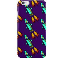 seamless pattern with space rockets flying on purple background. Cute kids doodle drawing. iPhone Case/Skin