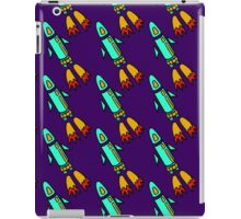 seamless pattern with space rockets flying on purple background. Cute kids doodle drawing. iPad Case/Skin