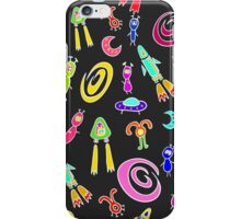 Seamless pattern with space aliens and flying rockets, spacecraft, and galaxies. Cute kids doodle sketch. iPhone Case/Skin