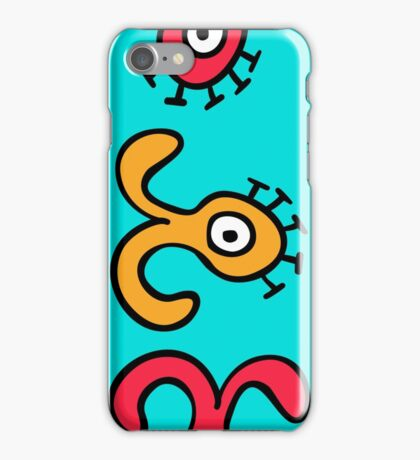 seamless pattern with cute aliens. Cute kids doodle sketch. iPhone Case/Skin