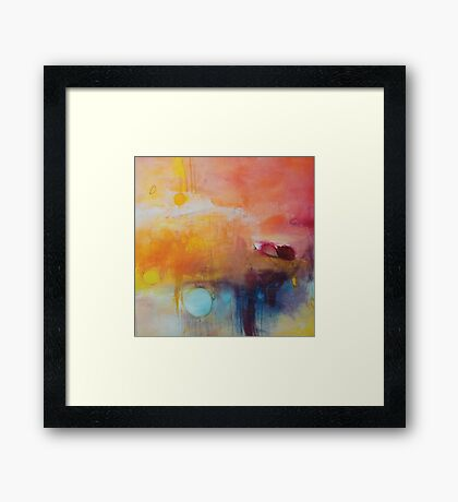 Blue Lake,Orange Abstract Giclee print,Orange Blue Giclee,Abstract Painting,Large Abstract Painting,Red Blue Art Print,Pink wall art Framed Print