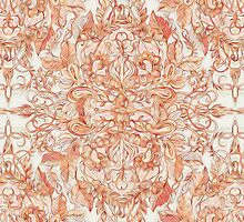 Autumn Peach Art Nouveau Pattern by micklyn
