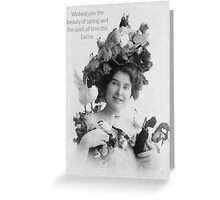 Easter Beauty and Love Vintage Model with Bonnet Greeting Card
