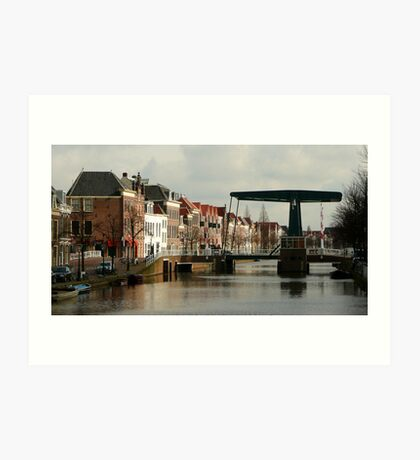 Old houses and a modern bridge at Leiden Art Print