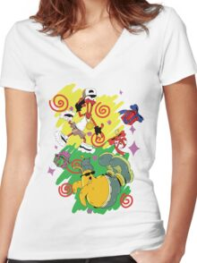 Funky Aliens (Toejam and Earl) Women's Fitted V-Neck T-Shirt