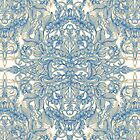 Blue & Tan Art Nouveau Pattern by micklyn