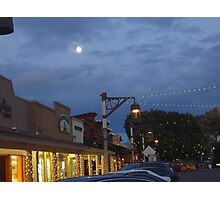 December Twilight Moon Old Town Scottsdale Photographic Print