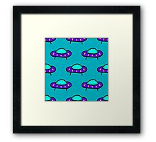 seamless pattern with alien flying devices. Cute kids doodle sketch. Framed Print