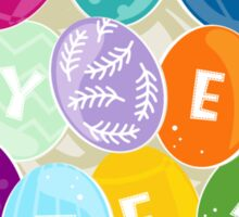 happy easter colorful eggs in a nest Sticker