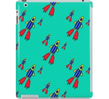 seamless pattern with space rockets flying on blue background. Cute kids doodle drawing. iPad Case/Skin