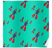 seamless pattern with space rockets flying on blue background. Cute kids doodle drawing. Poster