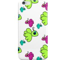 Seamless pattern with colorful cartoon birds. Cute kids doodle sketch iPhone Case/Skin
