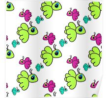 Seamless pattern with colorful cartoon birds. Cute kids doodle sketch Poster