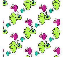Seamless pattern with colorful cartoon birds. Cute kids doodle sketch Photographic Print