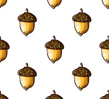 seamless background with hazelnuts. hand-drawn illustration by Ann-Julia
