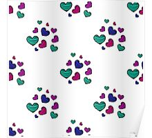 seamless pattern with colorful striped hearts Poster